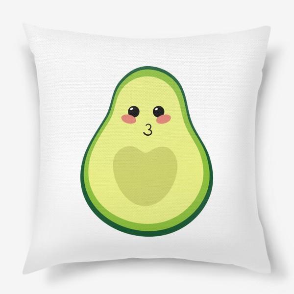 Подушка «милый авокадо, смайлик, эмодзи, сердечко и поцелуй»