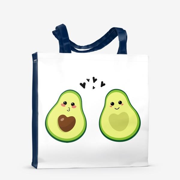 Сумка-шоппер «Милая пара, авокадо эмодзи (смайлики) и сердечки, поцелуй и улыбка»
