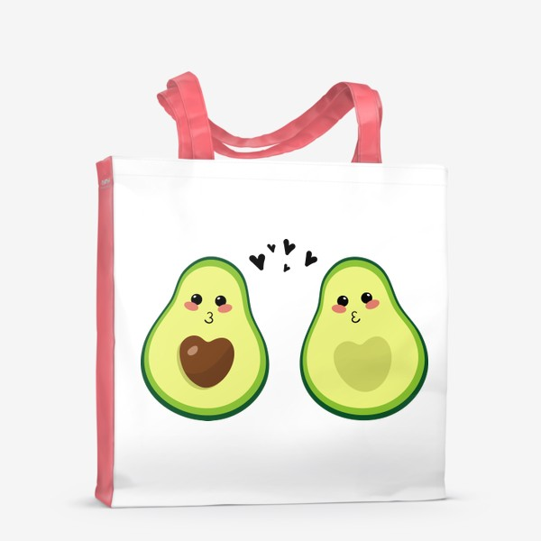 Сумка-шоппер «Милая пара, авокадо эмодзи (смайлики) и сердечки, поцелуй»