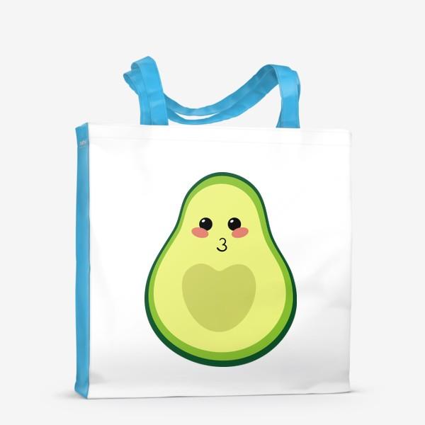 Сумка-шоппер «милый авокадо, смайлик, эмодзи, сердечко и поцелуй»