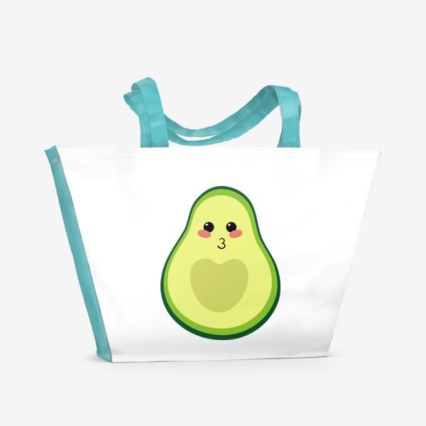 Пляжная сумка «милый авокадо, смайлик, эмодзи, сердечко и поцелуй»