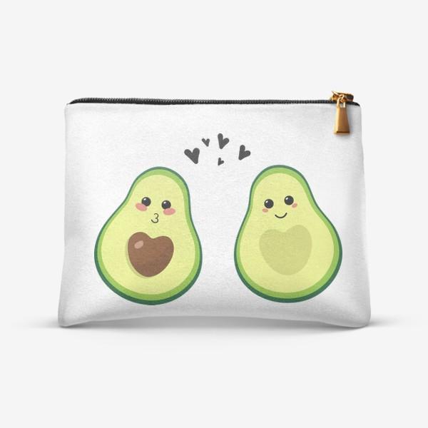 Косметичка «Милая пара, авокадо эмодзи (смайлики) и сердечки, поцелуй и улыбка»