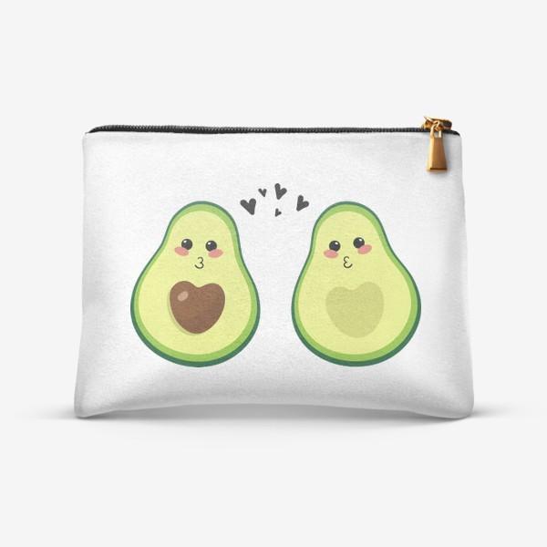 Косметичка «Милая пара, авокадо эмодзи (смайлики) и сердечки, поцелуй»