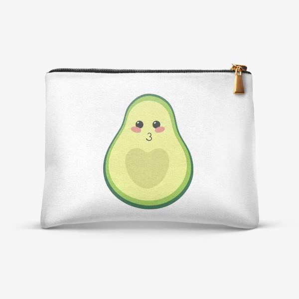 Косметичка «милый авокадо, смайлик, эмодзи, сердечко и поцелуй»