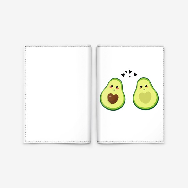Обложка для паспорта «Милая пара, авокадо эмодзи (смайлики) и сердечки, поцелуй и улыбка»