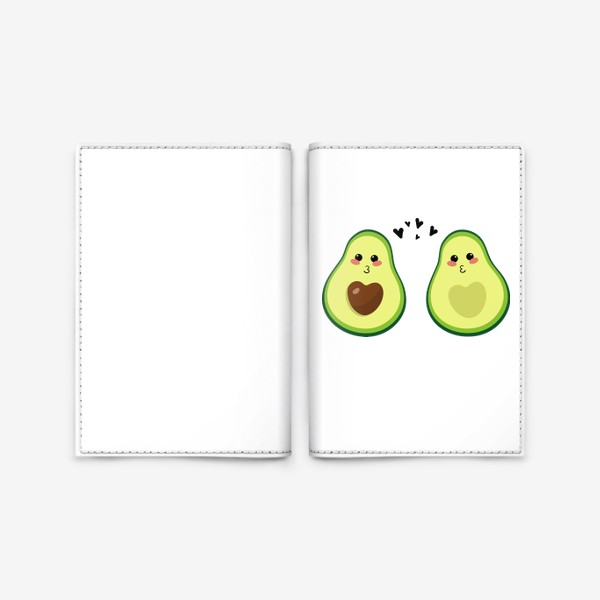 Обложка для паспорта «Милая пара, авокадо эмодзи (смайлики) и сердечки, поцелуй»