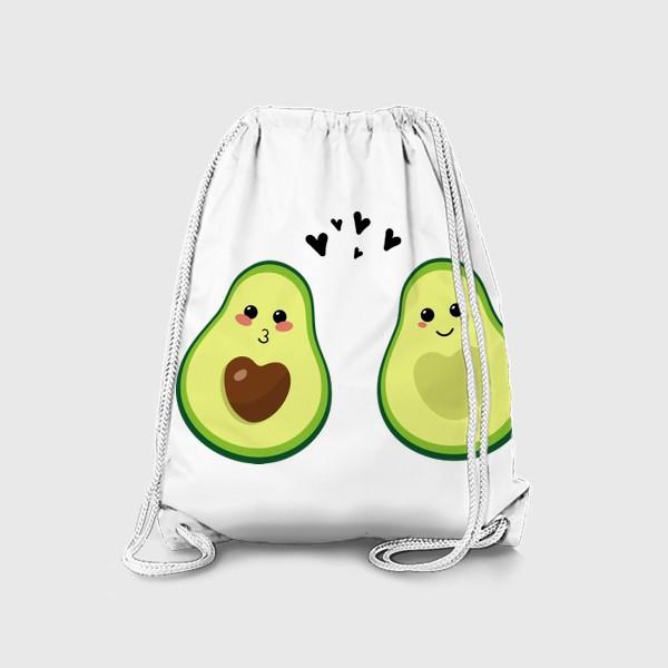Рюкзак «Милая пара, авокадо эмодзи (смайлики) и сердечки, поцелуй и улыбка»