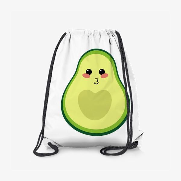Рюкзак «милый авокадо, смайлик, эмодзи, сердечко и поцелуй»