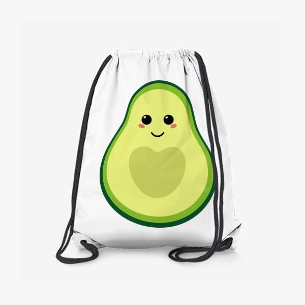 Рюкзак «милый авокадо, смайлик, эмодзи, сердечко и улыбка»