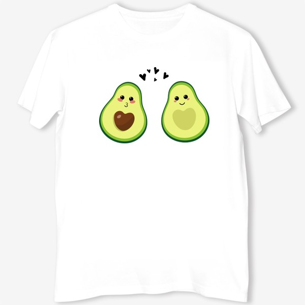 Футболка «Милая пара, авокадо эмодзи (смайлики) и сердечки, поцелуй и улыбка»