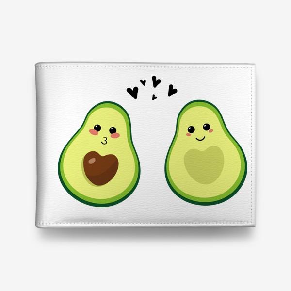 Кошелек «Милая пара, авокадо эмодзи (смайлики) и сердечки, поцелуй и улыбка»