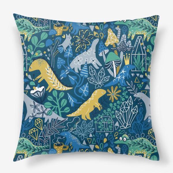 Подушка «Динозавры и котик в саду. »