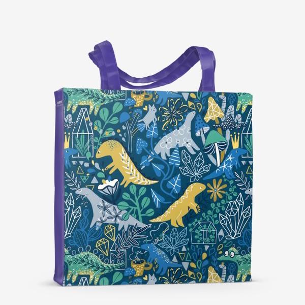 Сумка-шоппер «Динозавры и котик в саду. »