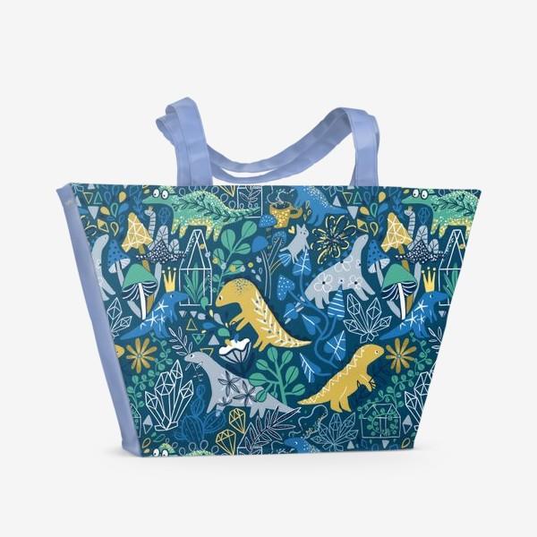 Пляжная сумка «Динозавры и котик в саду. »