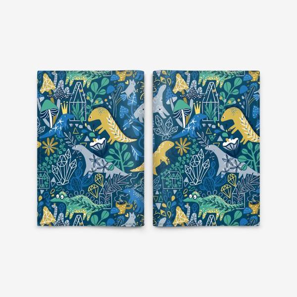 Обложка для паспорта «Динозавры и котик в саду. »
