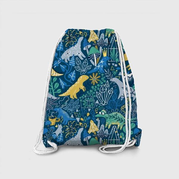 Рюкзак «Динозавры и котик в саду. »