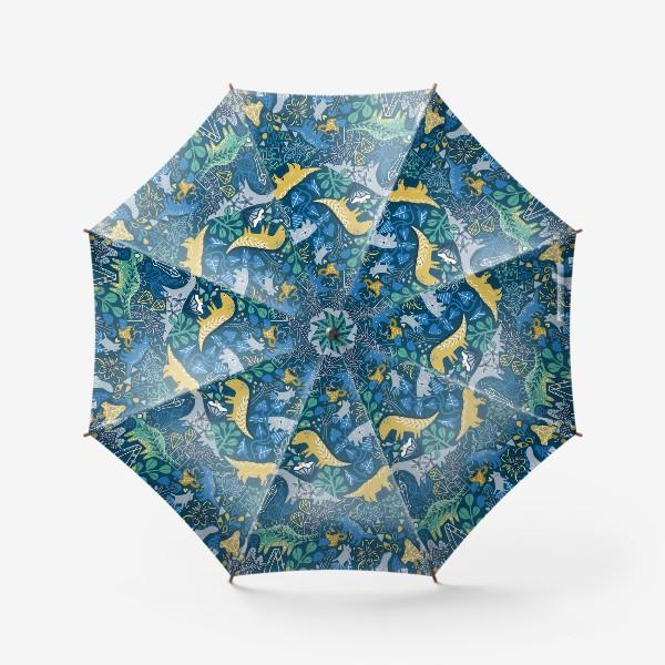 Зонт «Динозавры и котик в саду. »