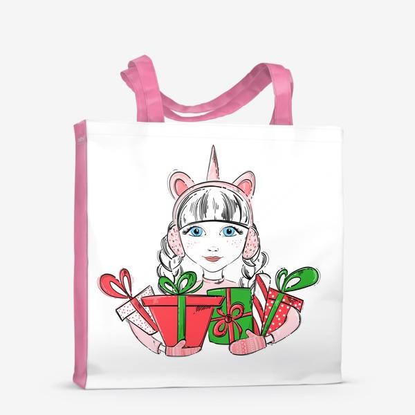 Сумка-шоппер «Иллюстрация девочки с подарками»