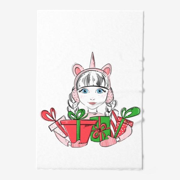 Полотенце «Иллюстрация девочки с подарками»