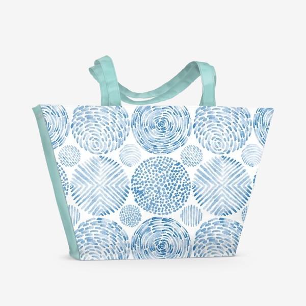 Пляжная сумка «Абстрактные акварельные круги. Орнамент.»