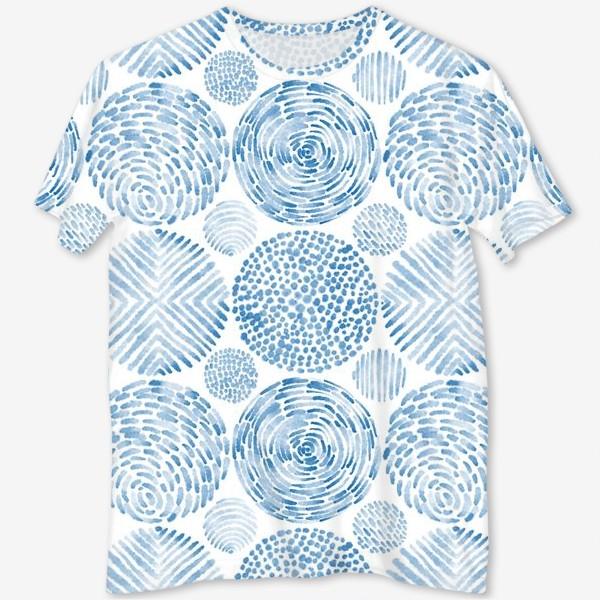 Футболка с полной запечаткой «Абстрактные акварельные круги. Орнамент.»