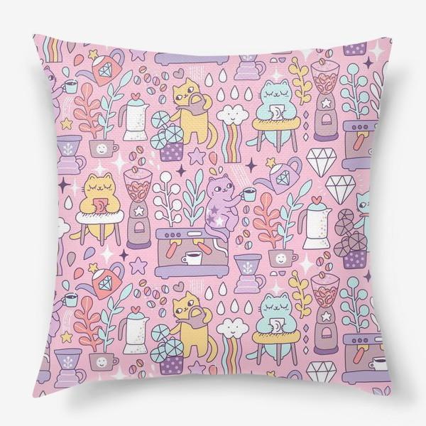 Подушка «Кофе и котики. Розовая кофейня.»
