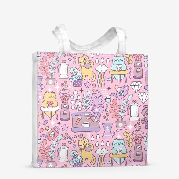 Сумка-шоппер «Кофе и котики. Розовая кофейня.»