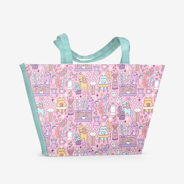 Пляжная сумка «Кофе и котики. Розовая кофейня.»