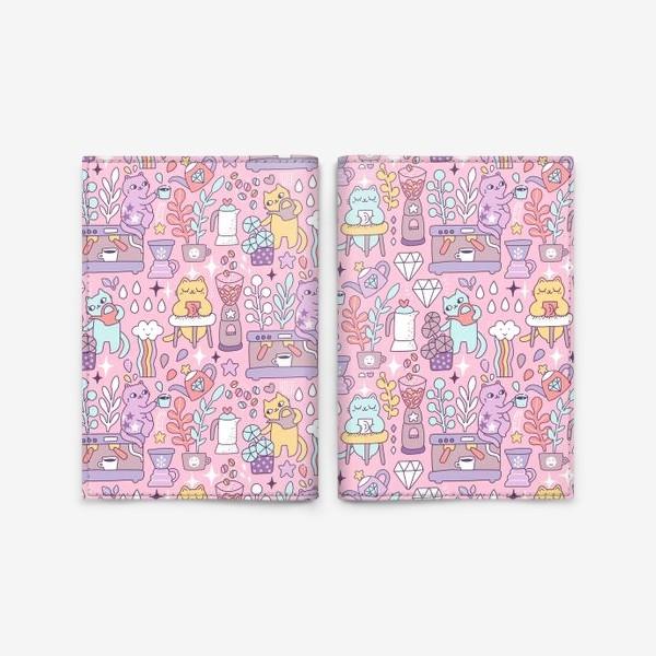 Обложка для паспорта «Кофе и котики. Розовая кофейня.»