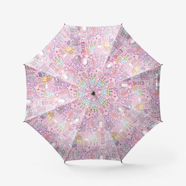 Зонт «Кофе и котики. Розовая кофейня.»