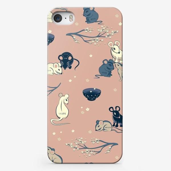 Чехол iPhone «МЫШИ В ЯПОНСКОМ СТИЛЕ бесшовный паттерн»