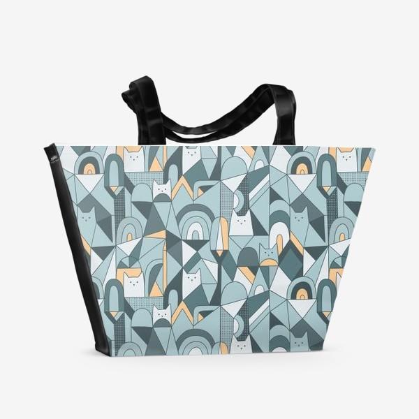 Пляжная сумка «Коты в геометрии»
