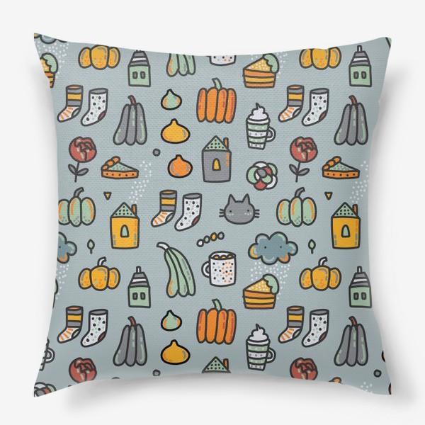 Подушка «Уютная осень. Тыквы, коты, пироги, кофе  и какао»