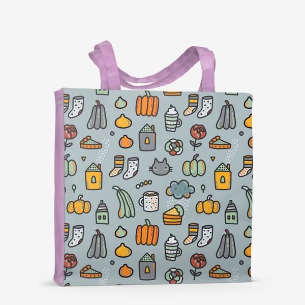 Сумка-шоппер «Уютная осень. Тыквы, коты, пироги, кофе  и какао»