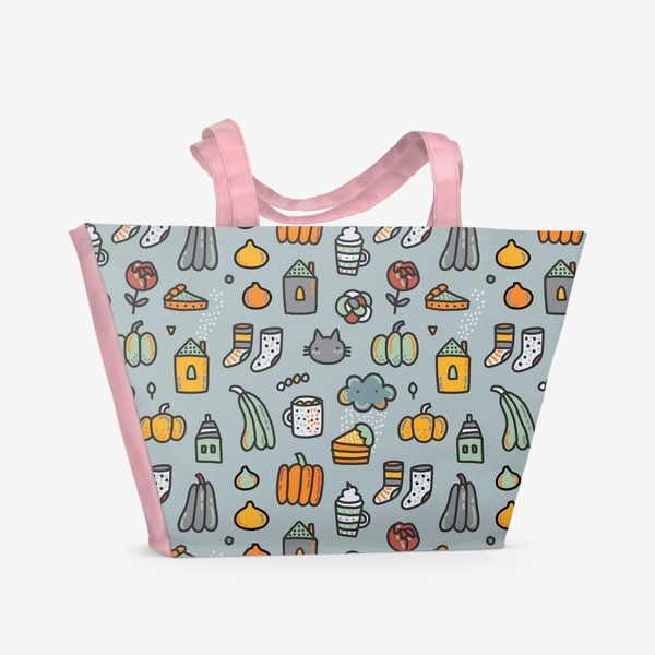 Пляжная сумка «Уютная осень. Тыквы, коты, пироги, кофе  и какао»