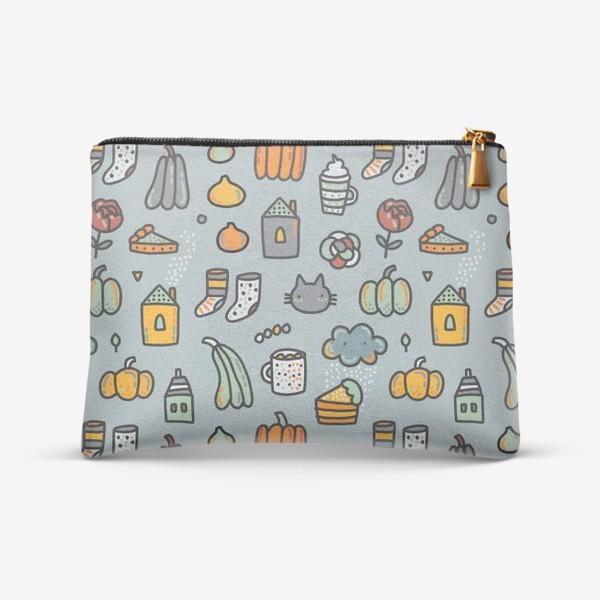Косметичка «Уютная осень. Тыквы, коты, пироги, кофе  и какао»
