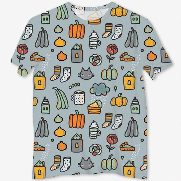 Футболка с полной запечаткой «Уютная осень. Тыквы, коты, пироги, кофе  и какао»