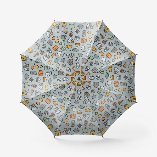 Зонт «Уютная осень. Тыквы, коты, пироги, кофе  и какао»