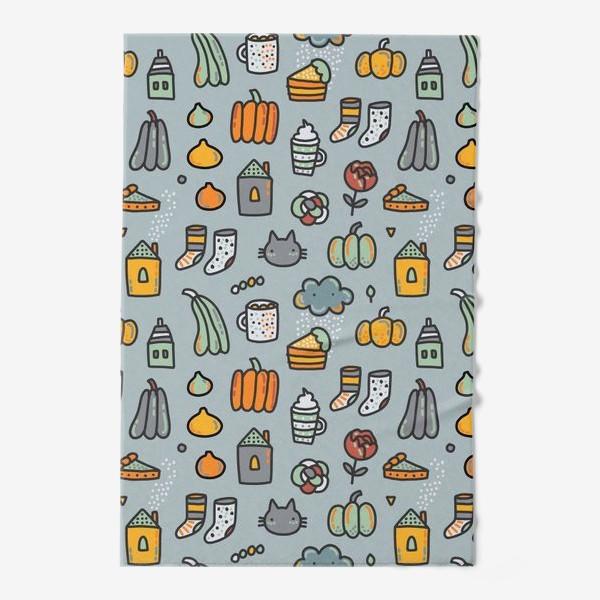 Полотенце «Уютная осень. Тыквы, коты, пироги, кофе  и какао»