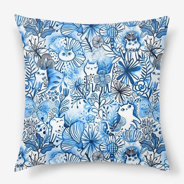 Подушка «Акварельные коты и цветы»