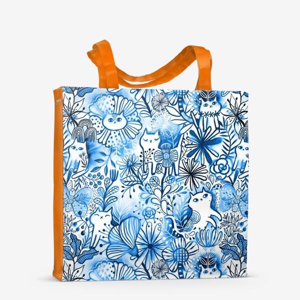 Сумка-шоппер «Акварельные коты и цветы»