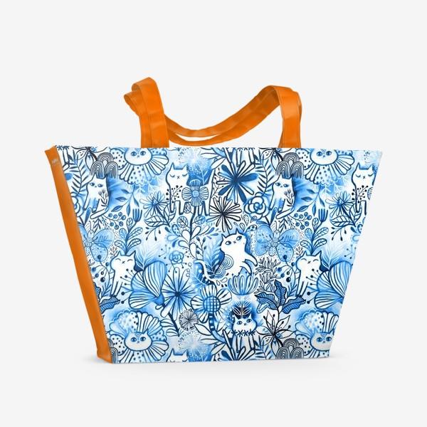 Пляжная сумка «Акварельные коты и цветы»