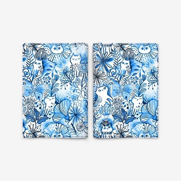 Обложка для паспорта «Акварельные коты и цветы»