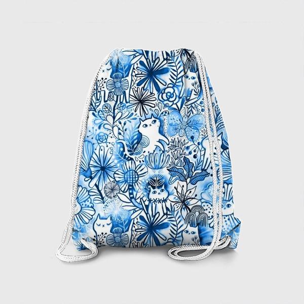 Рюкзак «Акварельные коты и цветы»
