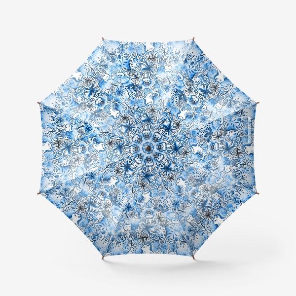 Зонт «Акварельные коты и цветы»