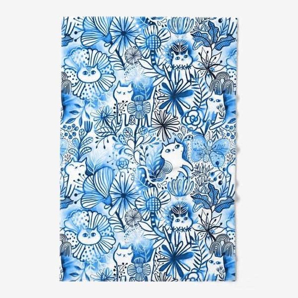 Полотенце «Акварельные коты и цветы»