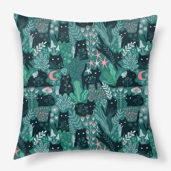 Подушка «Черный кот и девочка в цветах»