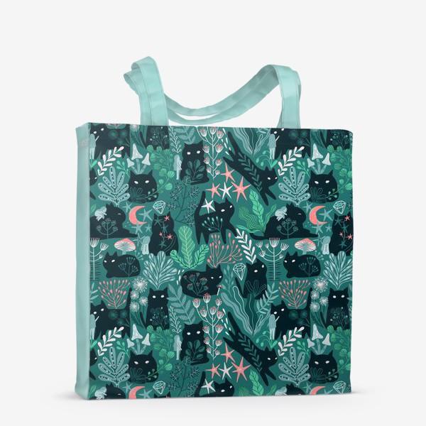 Сумка-шоппер «Черный кот и девочка в цветах»