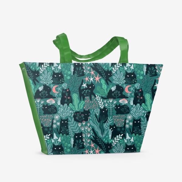 Пляжная сумка «Черный кот и девочка в цветах»