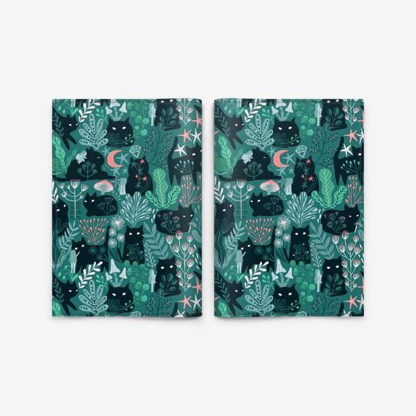 Обложка для паспорта «Черный кот и девочка в цветах»